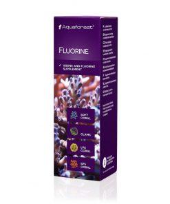 Aquaforest Fluorine 10ml Jod i fluor - suplement zawierający jod i fluor który jest bardzo ważnym, a zarazem głównym mikroelementem występującym w wodzie morskiej. Proces kalcyfikacji w którym uczestniczy fluor, ma ogromny wpływ przy budowie szkieletów koralowców SPS jak i LPS.