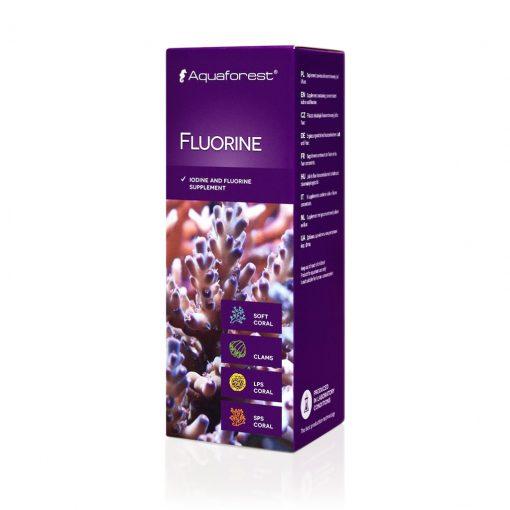 Aquaforest Fluorine 50ml Jod i fluor suplement zawierający jod i fluor który jest bardzo ważnym, a zarazem głównym mikroelementem występującym w wodzie morskiej.