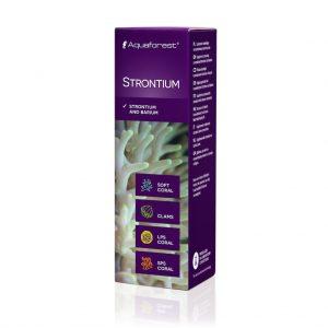 Aquaforest Strontium 10 ml Stront i bar - Suplement w którego skład wchodzi skoncentrowany stront oraz bar. Zaraz po wapniu i magnezie są jednym z najważniejszych pierwiastków potrzebnych do prawidłowego wzrostu koralowców twardych.